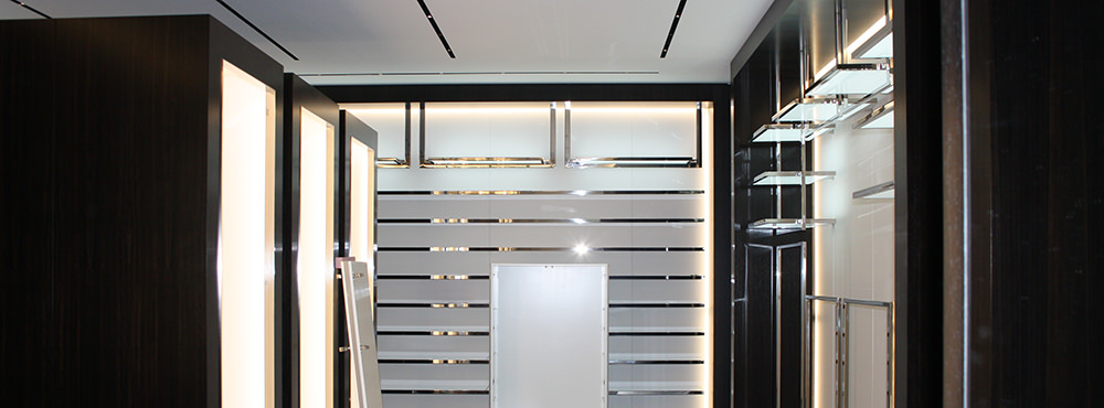 custom closet made of stainless steel tees